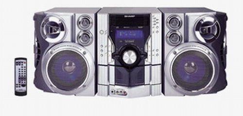 sharp cd es9 5 disc compact shelf system 440w full logic. Black Bedroom Furniture Sets. Home Design Ideas