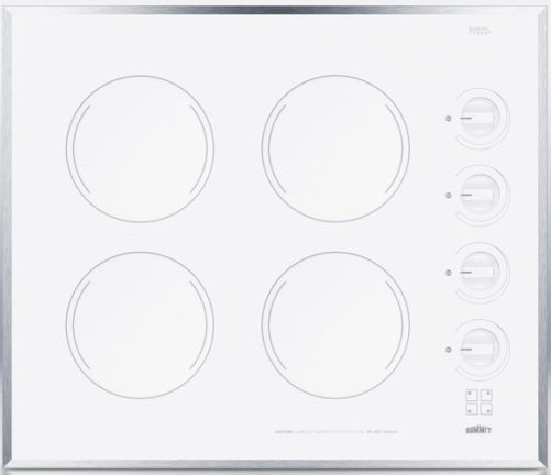 "Electric Range Smooth Top Cooking Surface Summit On In: Summit CR424WH Wide 24"" 4-burner Electric Cooktop With"